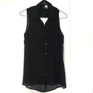 H&M Black Button Up Sleeveless  High Low Shirt 4